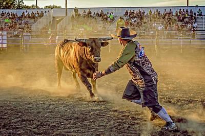 Photograph - Rodeo Bull Chase by LeeAnn McLaneGoetz McLaneGoetzStudioLLCcom