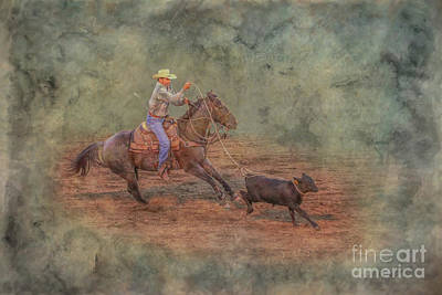 Digital Art - Rodeo Calf Roping by Randy Steele