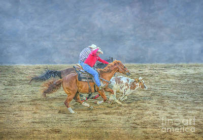 Digital Art - Rodeo Calf Roping Three by Randy Steele