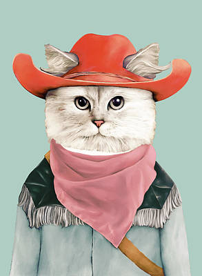 Animals Painting - Rodeo Cat by Animal Crew