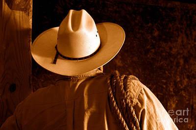 Rodeo Cowboy - Sepia Art Print