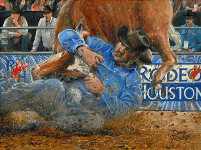Painting - Rodeo Houston --steer Wrestling by Doug Kreuger