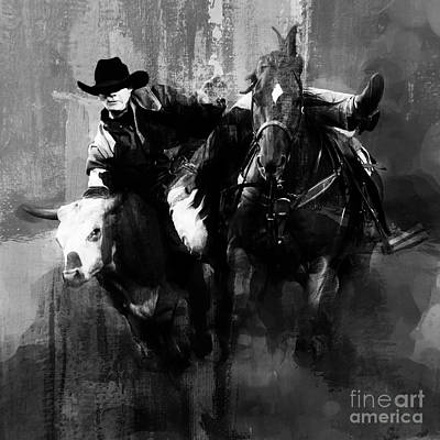 Working Cowboy Painting - Rodeo In Black by Gull G