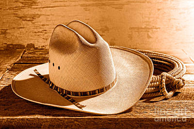 Cowboy Hat Photograph - Rodeo In Laredo - Sepia by Olivier Le Queinec