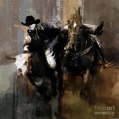 Palomino Horse Painting - Rodeo Painting by Gull G