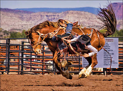 Photograph - Rodeo Saddle Bronc Riding  by Priscilla Burgers