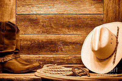 Photograph - Rodeo Still Life - Sepia by Olivier Le Queinec
