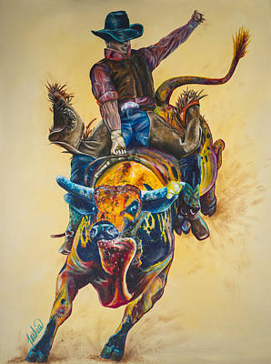 Contemporary Cowboy Painting - Rodeo Wild by Teshia Art