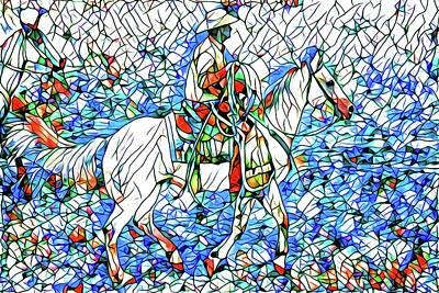 Photograph - Rodeo Wrangler Mosaic by Alice Gipson