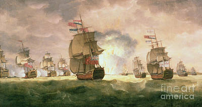 Rodney's Victory Off Cape St. Vincent  Art Print by Thomas Luny
