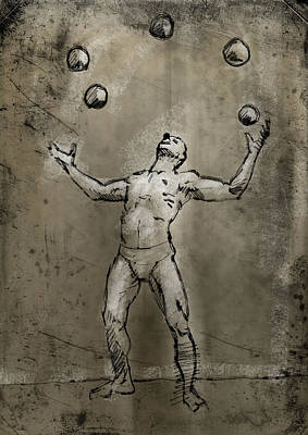 Juggling Drawing - Rodrigo by H James Hoff