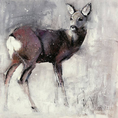Snow Mixed Media - Roe Doe by Mark Adlington