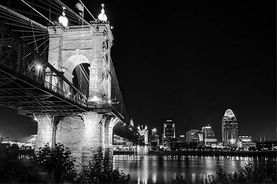 Photograph - Roebling Bridge And Cincinnati Skyline At Night - Black And White by Gregory Ballos
