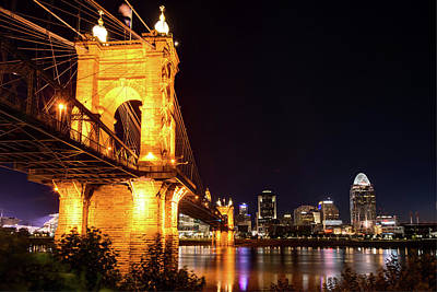 Photograph - Roebling Bridge And Cincinnati Skyline At Night by Gregory Ballos