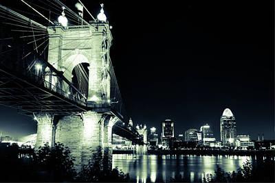 Photograph - Roebling Bridge And Cincinnati Skyline At Night - Vintage by Gregory Ballos