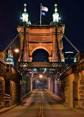 Photograph - Roebling Bridge At Night by Frozen in Time Fine Art Photography