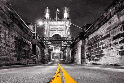 Roebling Bridge Digital Art - Roebling Bridge At Night by Tyler Mitchell