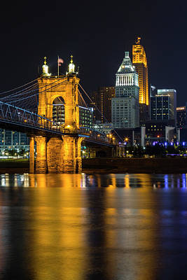 Photograph - Roebling Bridge Nights by Stephen Stookey