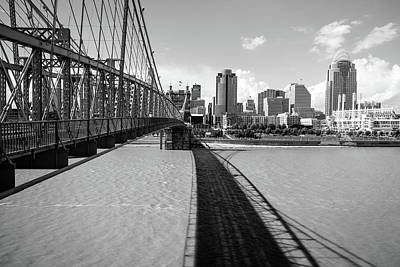 Photograph - Roebling Bridge Skyline Of Cincinnati - Black And White by Gregory Ballos