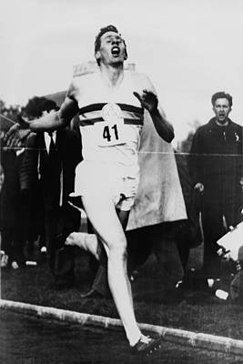 Bsloc Photograph - Roger Bannister Crossing The Finish by Everett