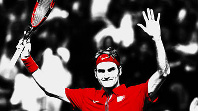 Venus Williams Mixed Media - Roger Federer Another Victory by Brian Reaves