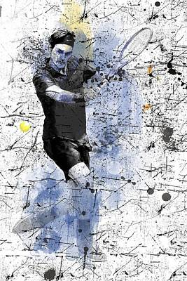 Digital Art - Roger Federer by Marlene Watson