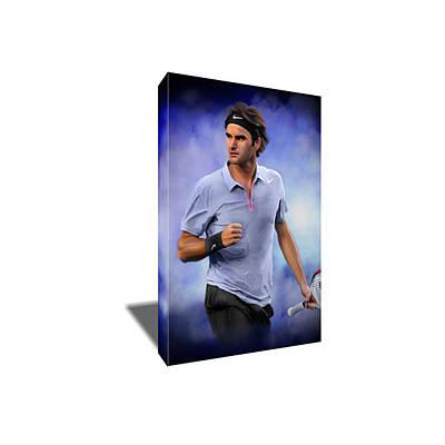 Roger Federer Mixed Media - Roger Federer Tennis Greatness Canvas Art by Artwrench Dotcom