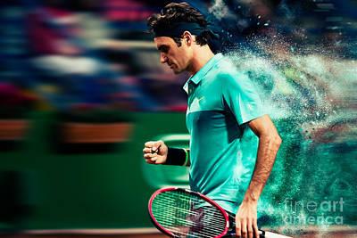 Federer Digital Art - Roger Federer by Yordan Rusev