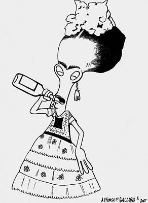Frida Drawing - Roger Frida Kahlo by Alfonso Gallegos