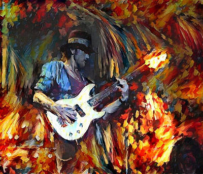 Digital Art - Roger Glover Deep Purple Portrait 2 by Yury Malkov