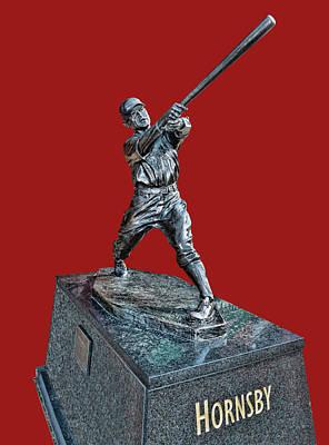 Photograph - Roger Hornsby Statue - Busch Stadium by Allen Beatty