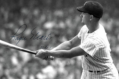 Roger Maris Hits Number 61, Autographed, Signed Art Print