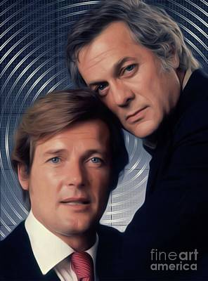 Musicians Digital Art Royalty Free Images - Roger Moore and Tony Curtis, The Persuaders Royalty-Free Image by Mary Bassett