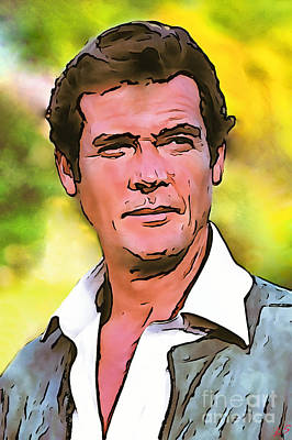 Broccoli Drawing - Roger Moore Collection - 1 by Sergey Lukashin