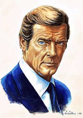 Roger Moore - James Bond Art Print by Spiros Soutsos