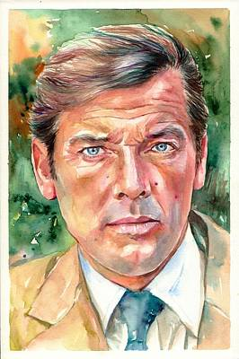 Moore Wall Art - Painting - Roger Moore Portrait 007 James Bond by Suzann's Art