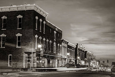 Photograph - Rogers Arkansas Downtown Architecture And Skyline - Sepia by Gregory Ballos