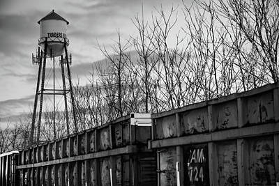 Photograph - Rogers Arkansas Water Tower Along The Rail - Black And White by Gregory Ballos