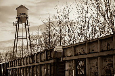 Photograph - Rogers Arkansas Water Tower Along The Rail - Sepia by Gregory Ballos