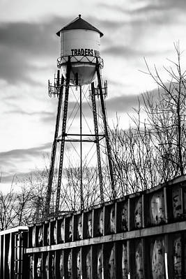 Photograph - Rogers Arkansas Water Tower Along The Tracks - Black And White Edition by Gregory Ballos