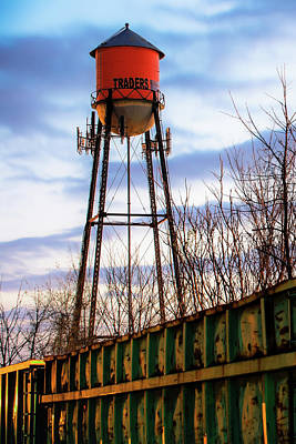 Photograph - Rogers Arkansas Water Tower Along The Tracks by Gregory Ballos