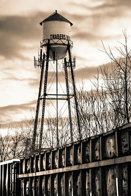 Photograph - Rogers Arkansas Water Tower Along The Tracks - Sepia Edition by Gregory Ballos