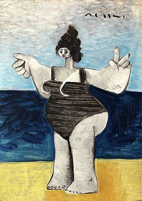 Women On Beach Wall Art - Painting - Rogue Beach Bums No 1  by Mark M Mellon