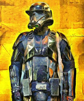 Breastplate Digital Art - Rogue One Death Trooper Observing - Da by Leonardo Digenio