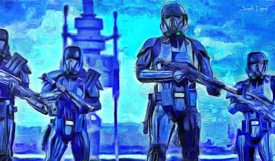 Light Blue Painting - Rogue One Death Trooper - Pa by Leonardo Digenio