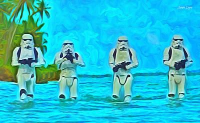 Helmet Digital Art - Rogue One Patrol In The Beaches - Da by Leonardo Digenio