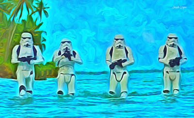 Star Painting - Rogue One Patrol In The Beaches - Pa by Leonardo Digenio