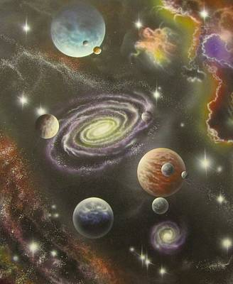 Painting - Rogue Planets With Moons by Sam Del Russi