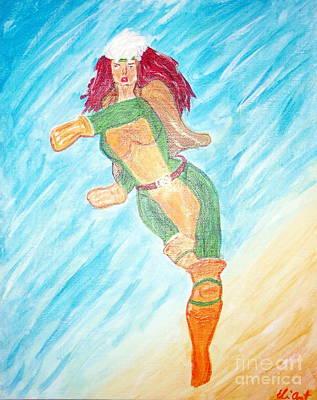 Xmen Painting - Rogue Strikes A Pose by Elizabeth Arthur