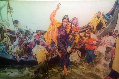 Painting - Rohingya Flee Myanmar by Rosanne Gartner